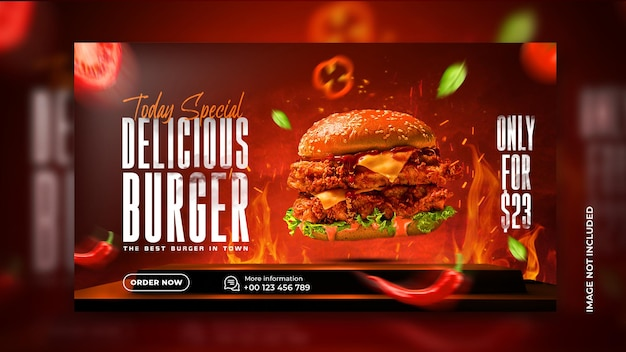 Heerlijke hamburger en eten menu webbanner restaurant social media bannersjabloon gratis psd
