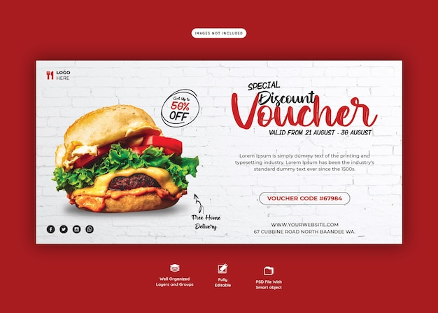 Heerlijke hamburger en voedselmenu cadeaubon sjabloon