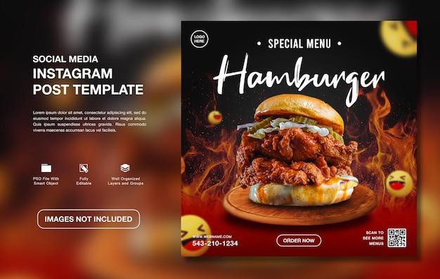 Heerlijke hamburger eten menu instagram sociale media sjabloon