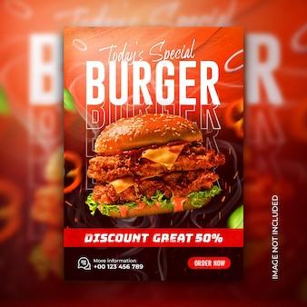 Heerlijke hamburger fastfood menu poster en flyer sjabloon voor spandoek voor sociale media gratis psd
