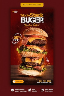 Heerlijke instagram- en facebook-verhaalsjabloon voor hamburger en eten