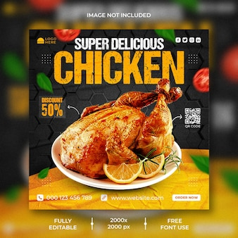 Heerlijke kip menu promotie sociale media instagram post en webbannersjabloon