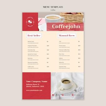 Heerlijke koffie menusjabloon