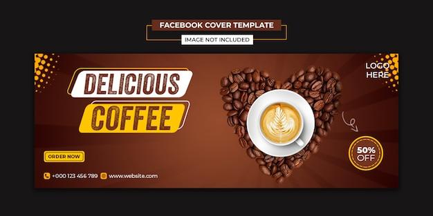 Heerlijke koffie sociale media en facebook voorbladsjabloon
