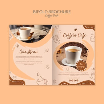 Heerlijke koffie tweevoudige brochure koffie sjabloon