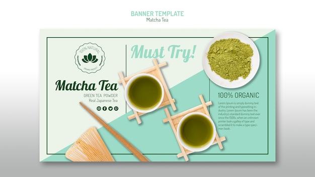 Heerlijke matcha thee-sjabloon voor spandoek