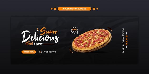 Heerlijke pizza eten menu facebook omslag en websjabloon voor spandoek