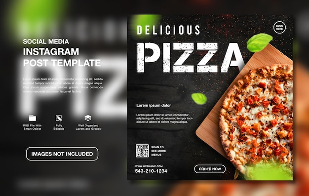 Heerlijke pizza eten menu instagram sociale media sjabloon