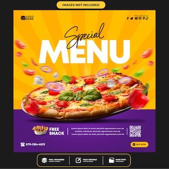 Heerlijke pizza social media postsjabloon