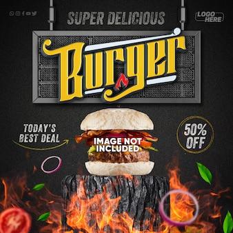 Heerlijke sociale-mediasjabloon voor hamburger- en voedselmenu