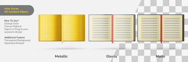 Heilige koran boek open 3d-ontwerp-object geïsoleerde scèneschepper