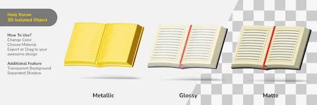 Heilige koran boek open 3d ontwerpobject geïsoleerde scèneschepper