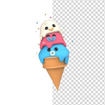 Helado feliz bolas sabrosas en una taza de gofres de cono 3d render lindo modelo de personaje sonriente