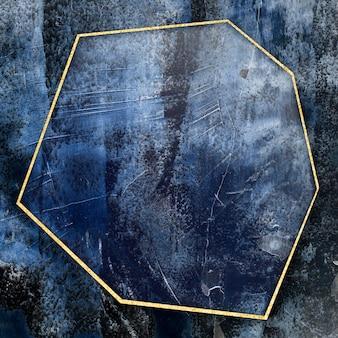 Heptagon gouden frame op abstracte illustratie als achtergrond