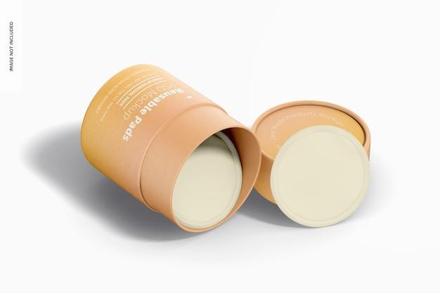 Herbruikbare pads verpakking mockup, dropped