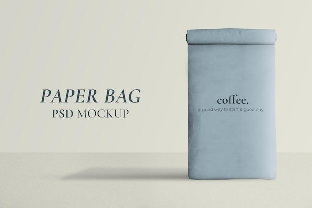 Herbruikbare papieren zak mockup psd opgerold in minimalistische stijl