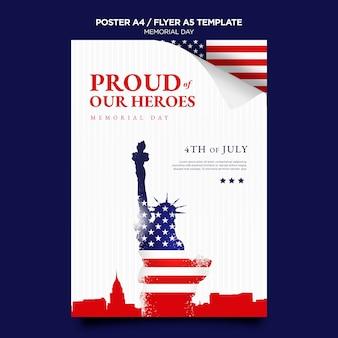 Herdenkingsdag afdruksjabloon met vlag