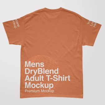 Heren dryblend volwassen rugrug t-shirt mockup