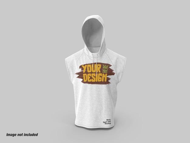 Heren sport hoodie vest vooraanzicht mockup