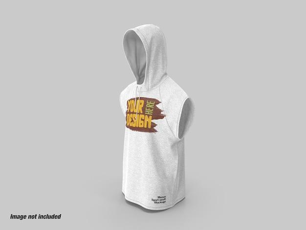 Heren sport hoodie vest zijaanzicht mockup