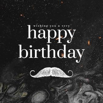 Heren verjaardagswenssjabloon psd met snorillustratie