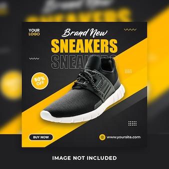 Herenmode schoenen vierkante social media banner post sjablonen