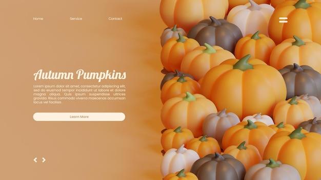 Herfst bestemmingspagina sjabloon met pompoenen 3d-rendering