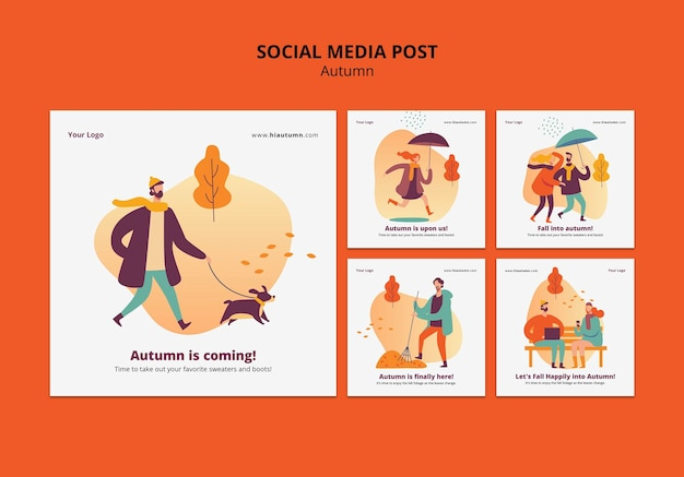 Herfst concept sociale media post sjabloon