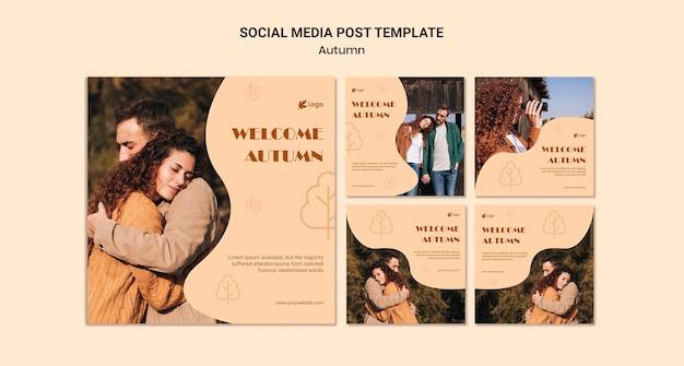 Herfst seizoen sociale media plaatsen
