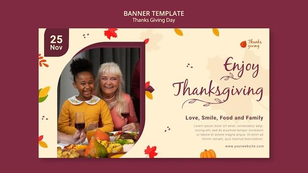 Herfst thanksgiving day horizontale bannersjabloon
