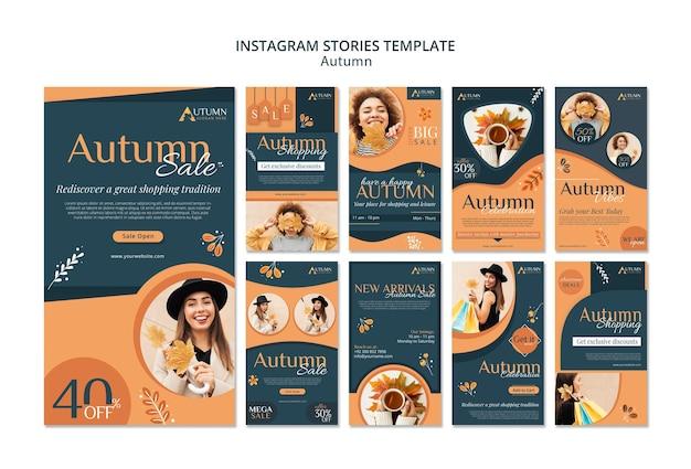Herfst verkoop instagram verhalen sjabloon