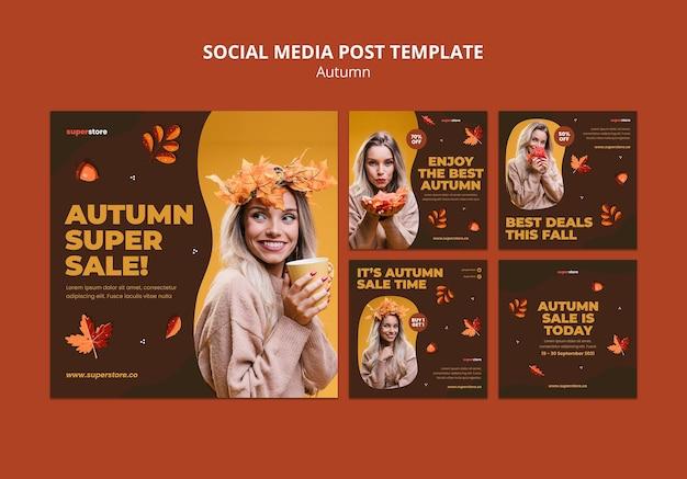 Herfst zomer verkoop social media post