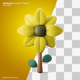 Herfst zonnebloem 3d illustratie weergave pictogram bewerkbaar geïsoleerd