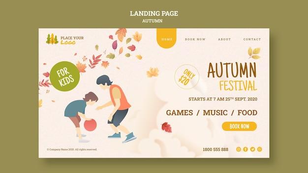 Herfstfestival voor bestemmingspagina voor kinderen