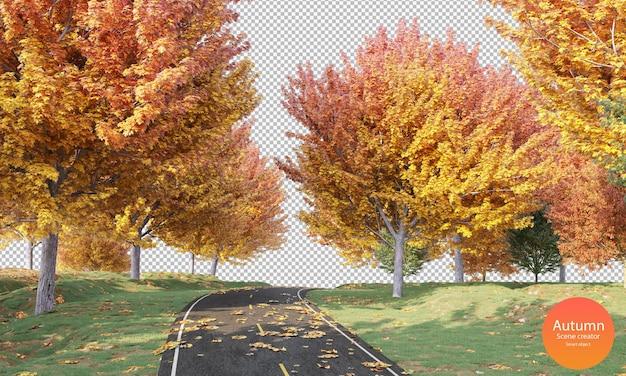 Herfstweg met herfstbomen en droge bladeren herfstscène maker groen gras