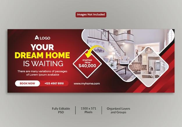Hermosa casa para la venta bienes raíces facebook portada plantilla de línea de tiempo