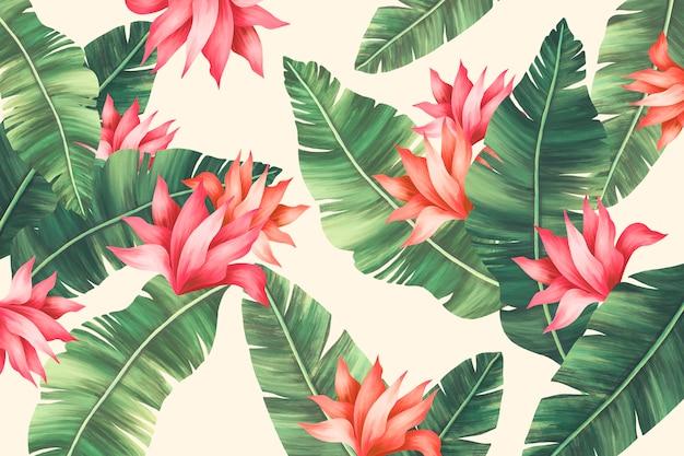 Hermosa impresión de verano con hojas de palmera