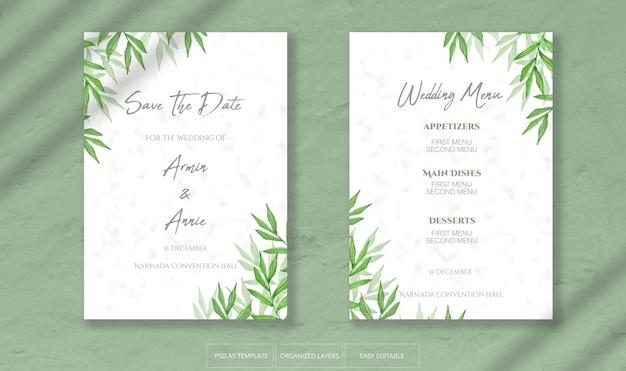 Hermosa invitación de boda con plantilla de decoración de hojas de acuarela
