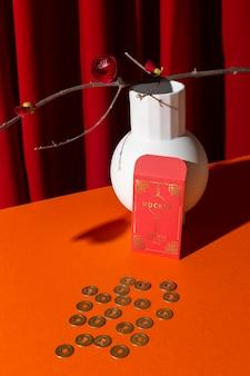 Hermosa maqueta de concepto de año nuevo chino