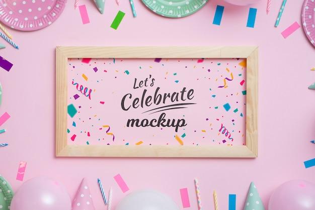 Hermosa maqueta de concepto de cumpleaños