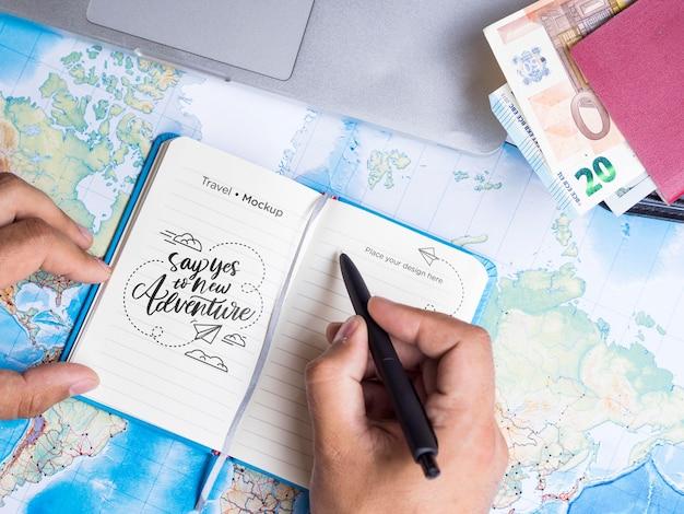 Hermosa maqueta de concepto de viaje