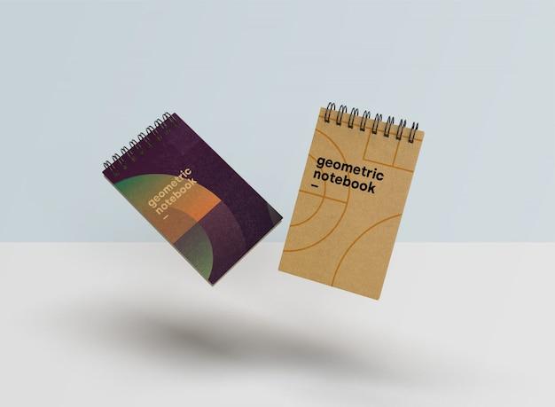 Hermosa maqueta de cuaderno en estilo geométrico psd