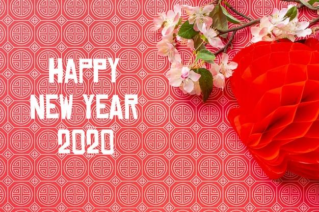 Hermosa maqueta feliz año nuevo chino