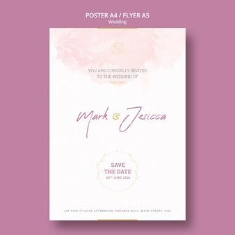 Hermosa maqueta de flyer de boda