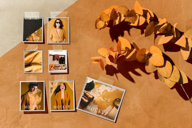 Hermosa maqueta de moodboard de otoño