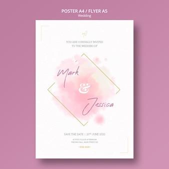 Hermosa maqueta de póster de boda