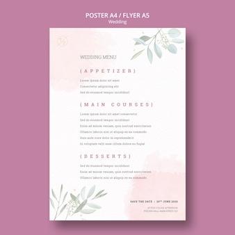 Hermosa maqueta de póster de menú de boda