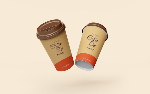 Hermosa maqueta de tazas de café de papel para llevar