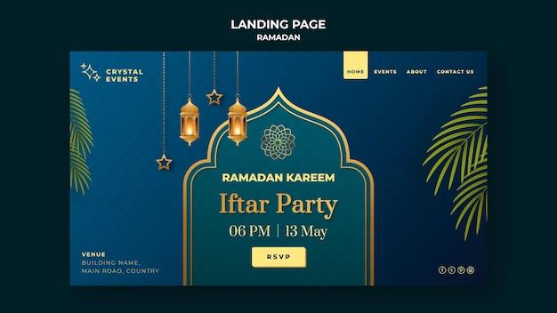 Hermosa plantilla de página de inicio de ramadán