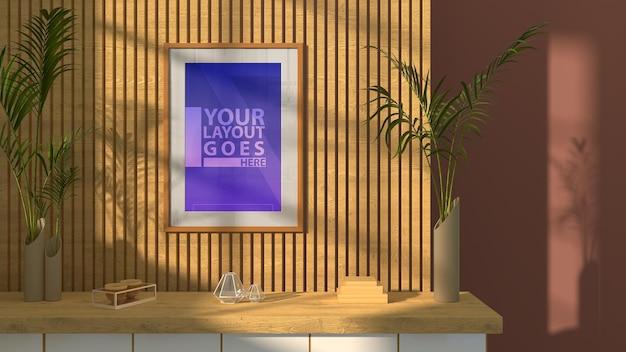 Hermosa sala de estar con maqueta de marco